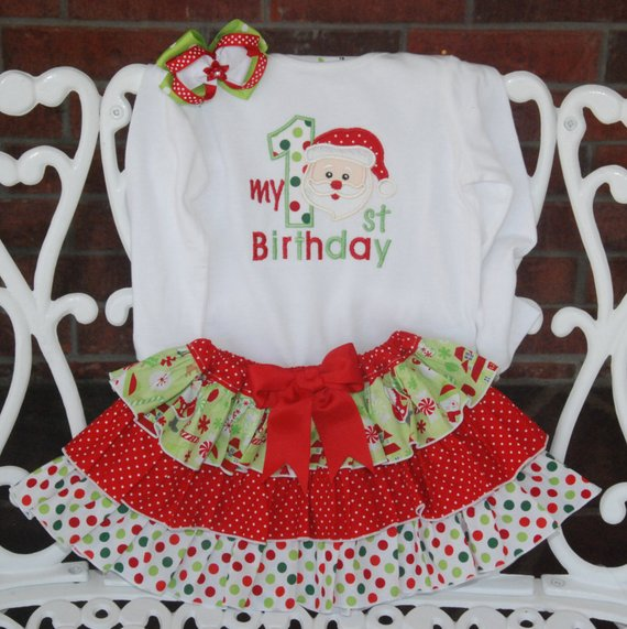 Baby Girl Christmas Birthday Outfit! Santa Christmas outfit for baby