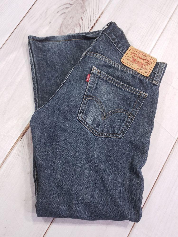 a1fbd3e2c18 Levis 514 Slim Straight Fit Blue Jeans Cotton Denim Mens 30X27