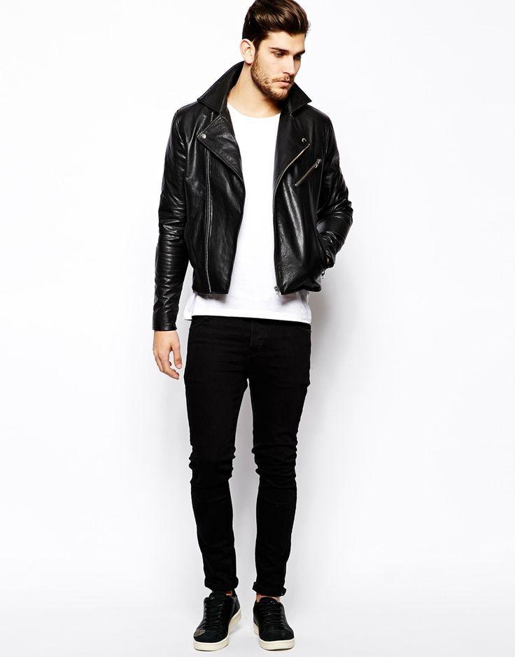 Men's Black Leather Biker Jacket, White Crew-neck T-shirt, Black ...