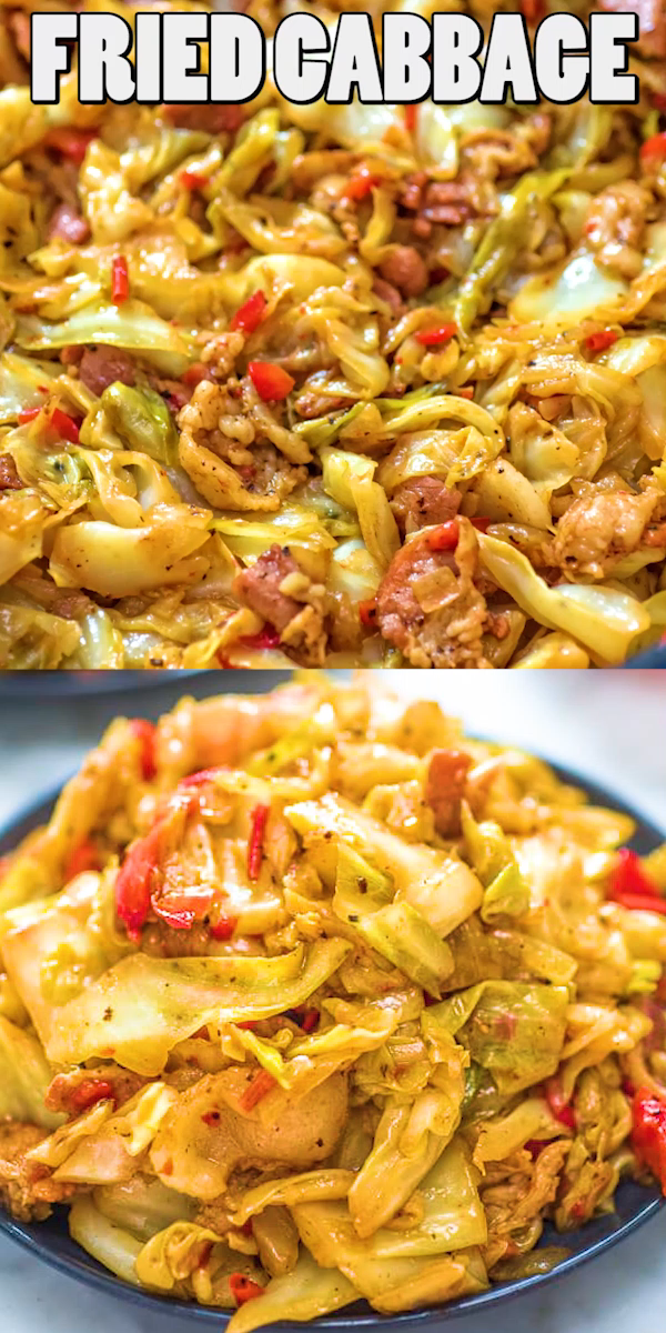 This Fried Cabbage recipe is insanely good! Made with bacon, onion, bell pepper, and a touch of hot sauce, it is easy to make, simple, and comes out perfect every time! #cabbage #dinner #bacon #keto #ketorecipe #ketodiet #lowcarb