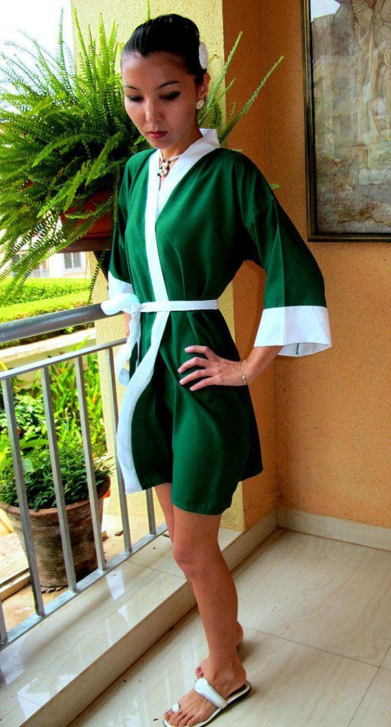 de9edfc9e9 Emerald Green Robe. Bridesmaids Robes. Kimono Robe. by SaudadeSun ...