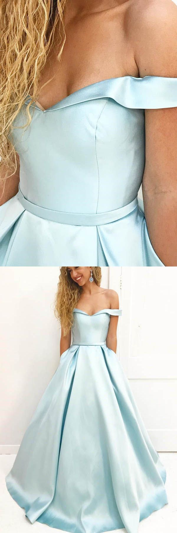 Aline simple off shoulder satin long prom dress with pockets pg
