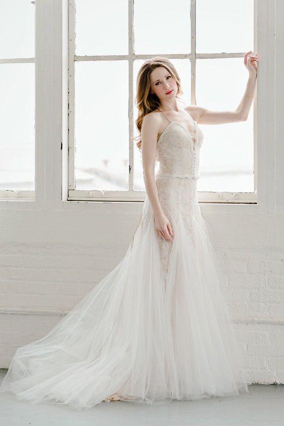 Rückenfreie Hochzeit Spitzenkleid, Roségold, Tüll-Kleid, Braut, sexy ...