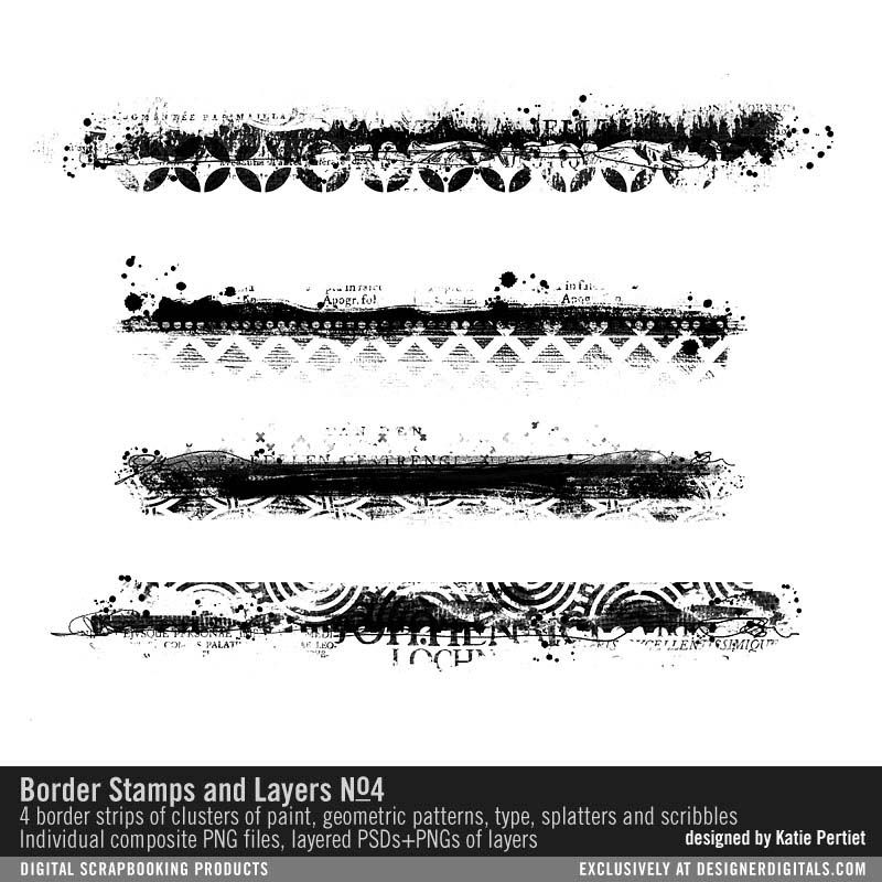 Border Stamps And Layers No 04 Artsy Messy Border Strips In Layers For Easy Customizing Png Psd And Abr Trash Polka Tattoo Designs Arm Band Tattoo Trash Polka