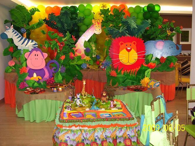 Decoración de cumpleaños de animales de la selva - Imagui | cumple ...
