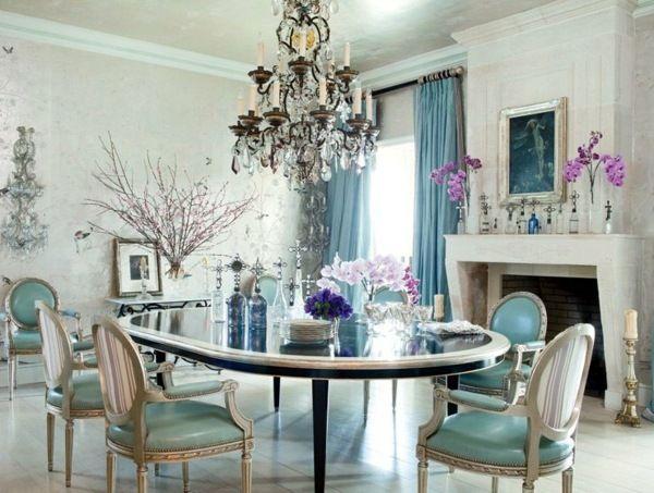 Shabby Chic Einrichtungsideen Esszimmer blau weiß Home ideas
