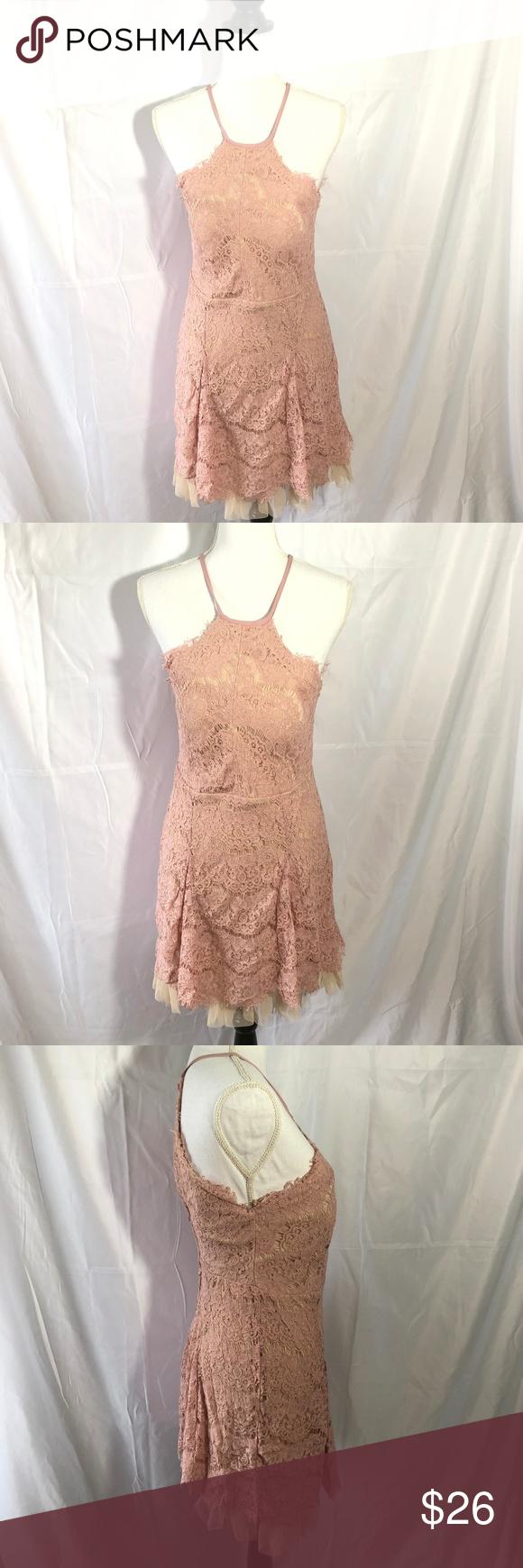 9125ab4f746 Trixxi Rose Pink Halter Top Ruffle Lace Dress L Trixxi Junior Womens Rose  Pink Size Large