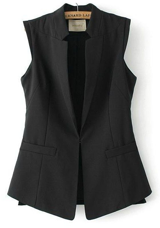 Black Plain Pockets Single Button Vest