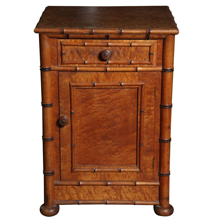 Antique English Faux Bamboo Night Stand