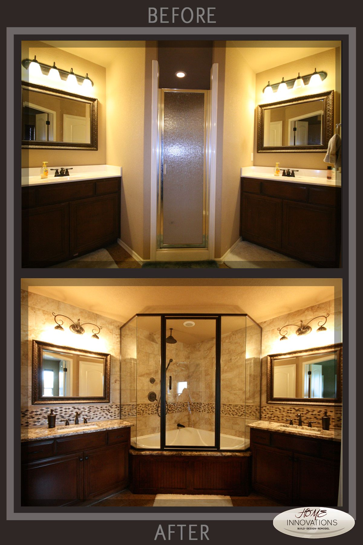 Bathroom renovation. What a change! Love the glass and how much ...