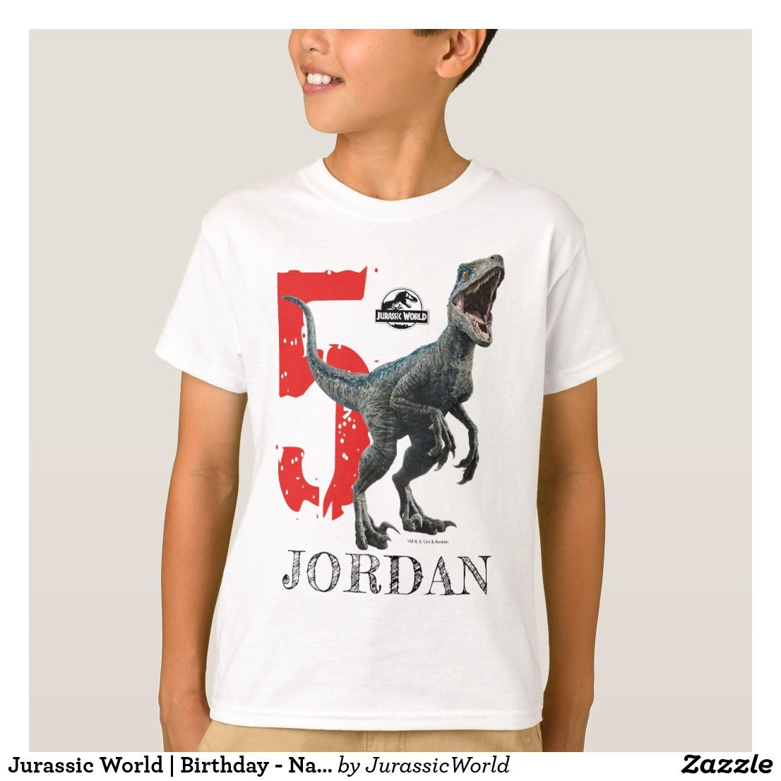 07c69e35 Jurassic World   Birthday - Name & Age T-Shirt.Personalize this Jurassic  World Birthday shirt with your child's name and age. #ad
