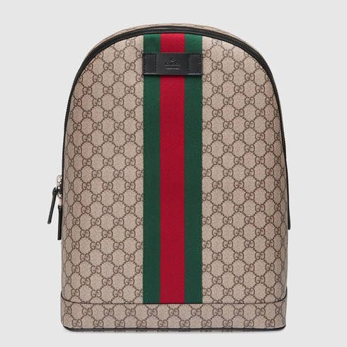 e630e46ba07f GUCCI Gg Supreme Backpack With Web. #gucci #bags #leather #canvas #backpacks  #
