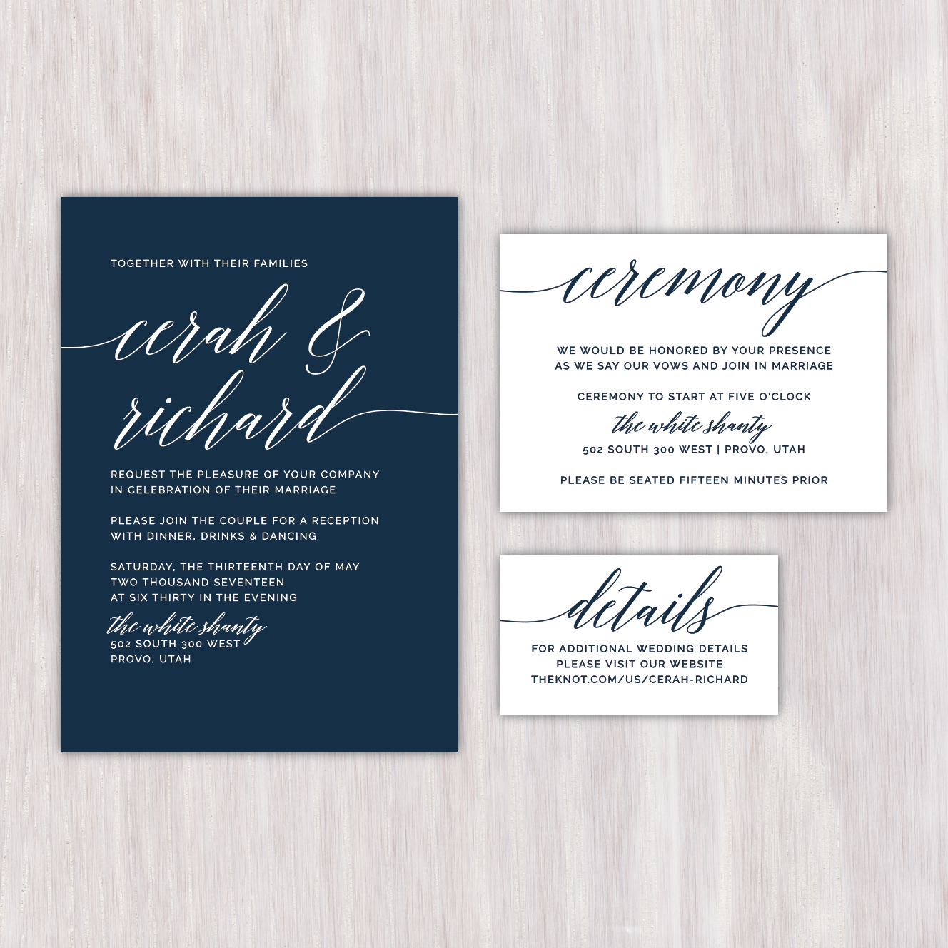Simple navy wedding announcement with oversized script names and simple navy wedding announcement with oversized script names and reverse color ceremony and details enclosure cards monicamarmolfo Images