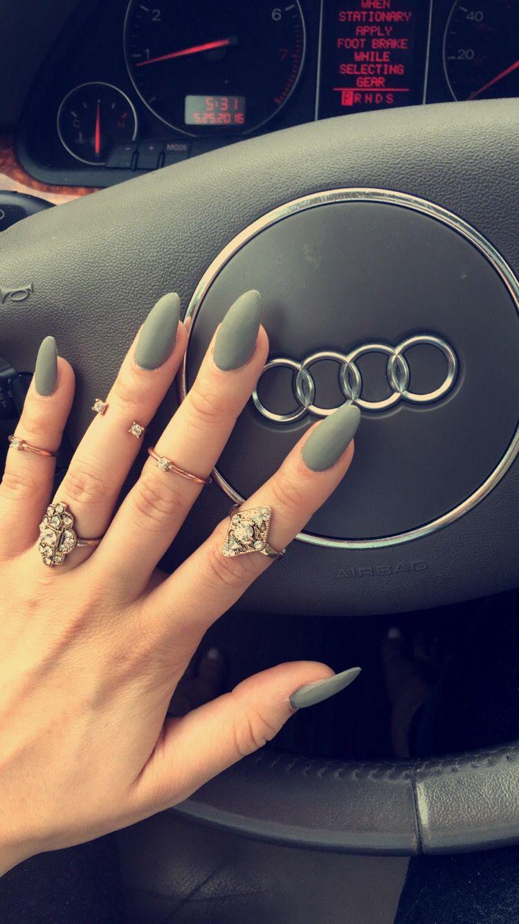 Matte grey almond nails | NAILS | Pinterest