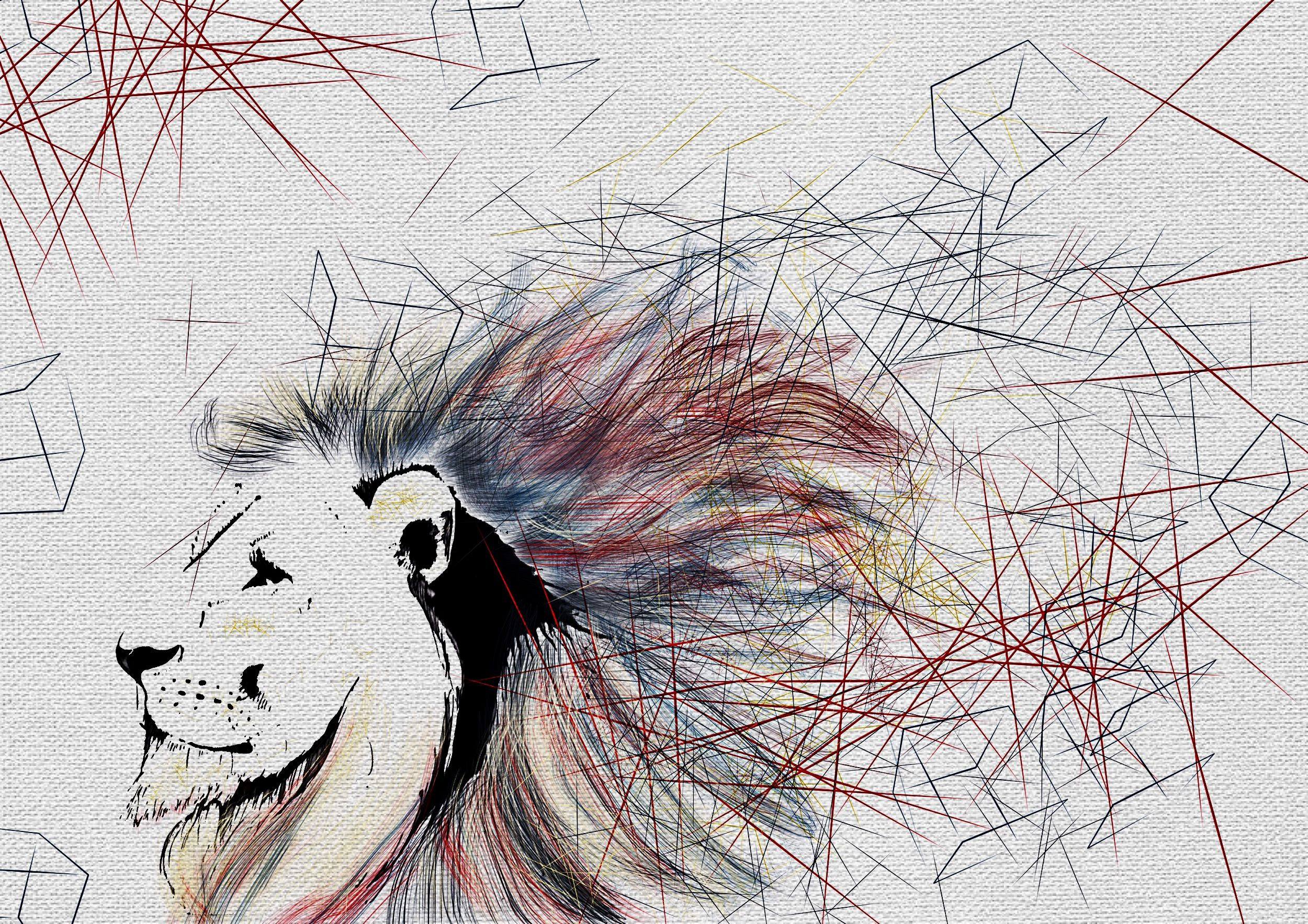 Geometric lion Geometric lion, Abstract artwork, Art