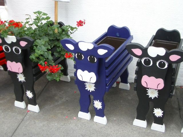 Cute Cow Planters Cows Garden Crafts Wood Crafts