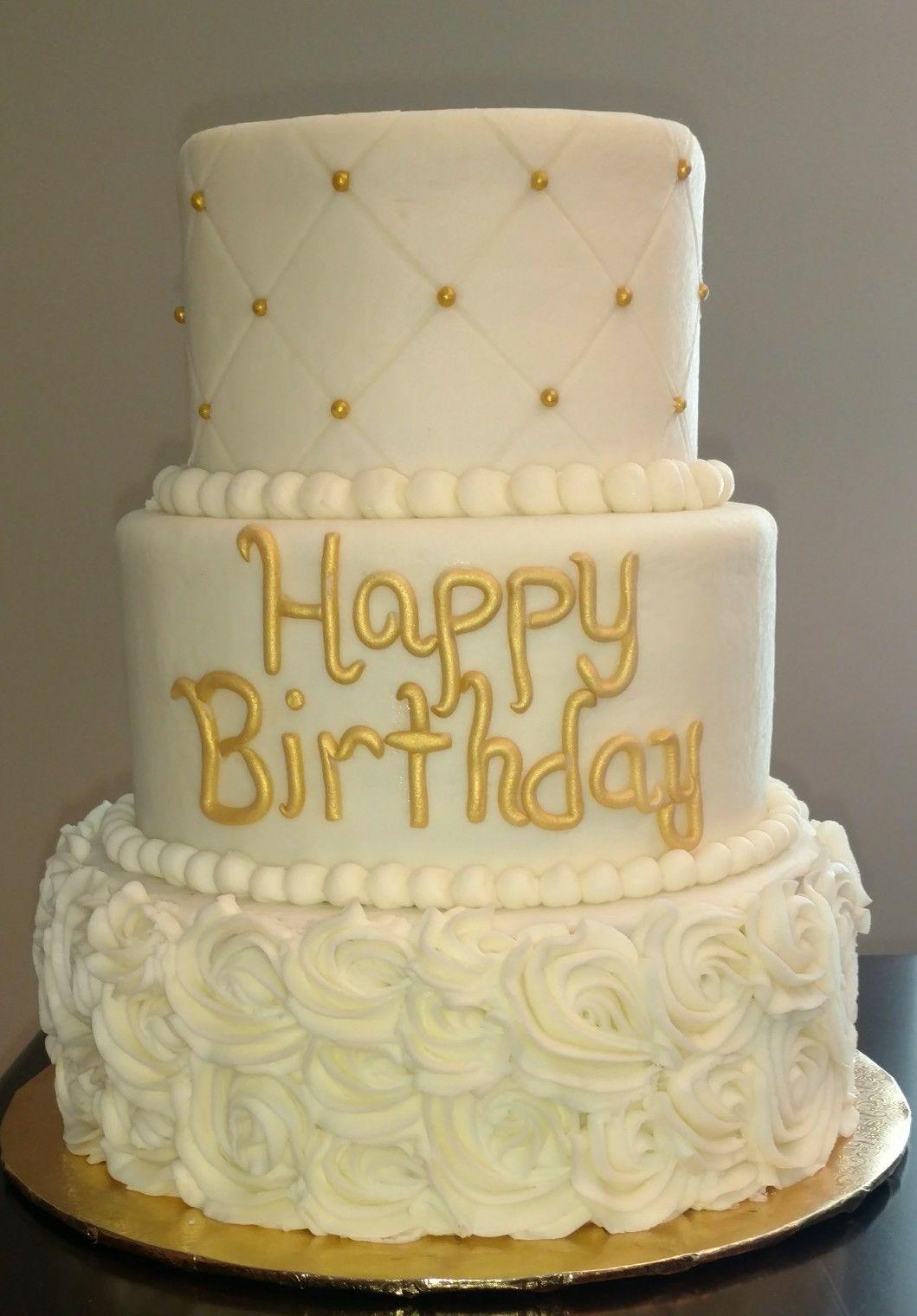 White And Gold Birthday Cake My Cake Creations Gold