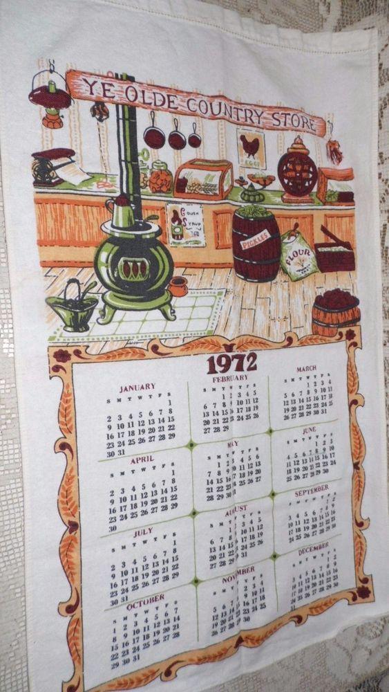 Vintage 1972 Linen Cloth Calendar Kitchen Towel Ye Olde Country Store Selling Antiques Linen Tea Pots