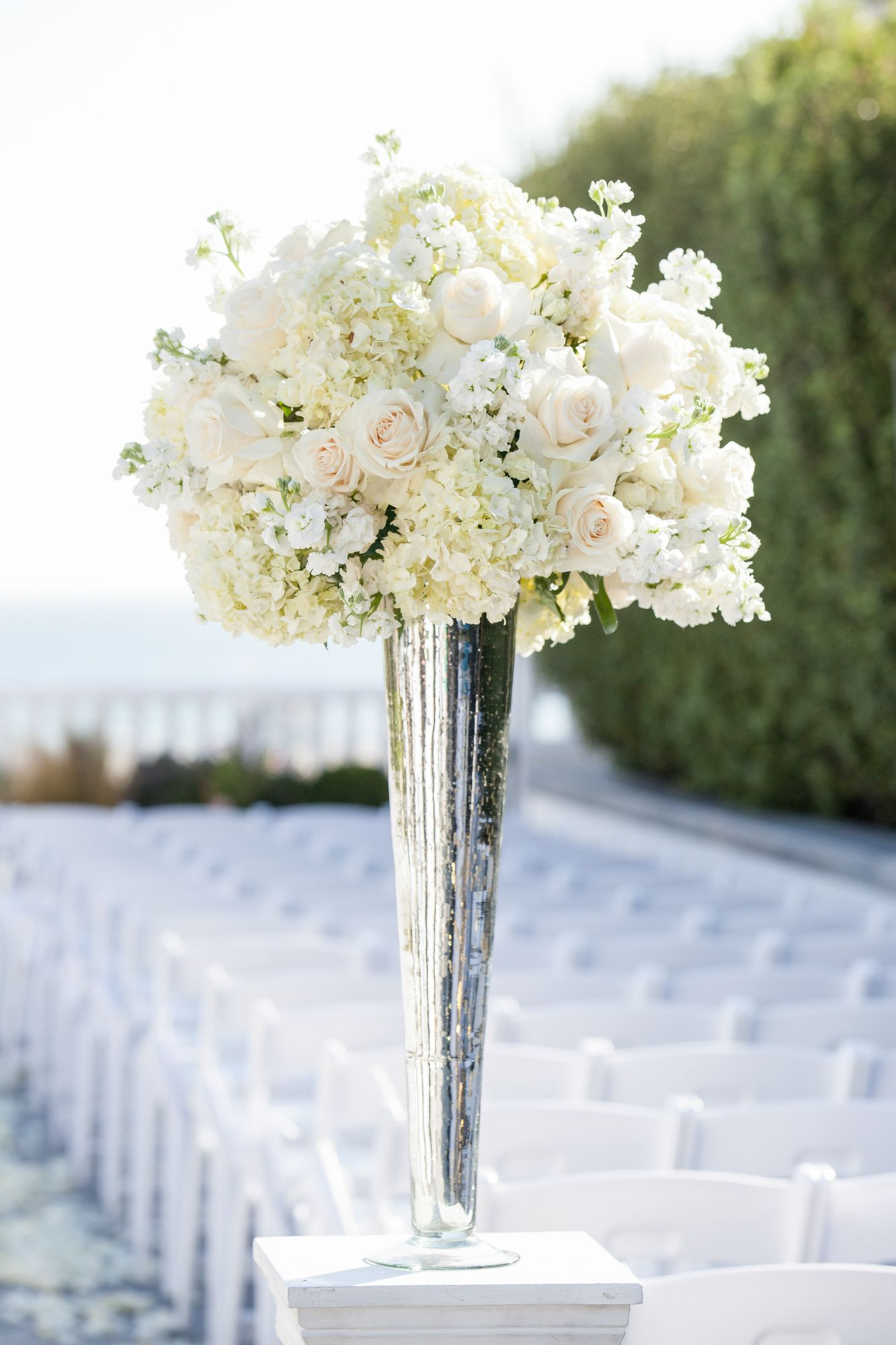 Hydrangea Centerpieces Tall : Tall white rose and hydrangea centerpiece in a silver