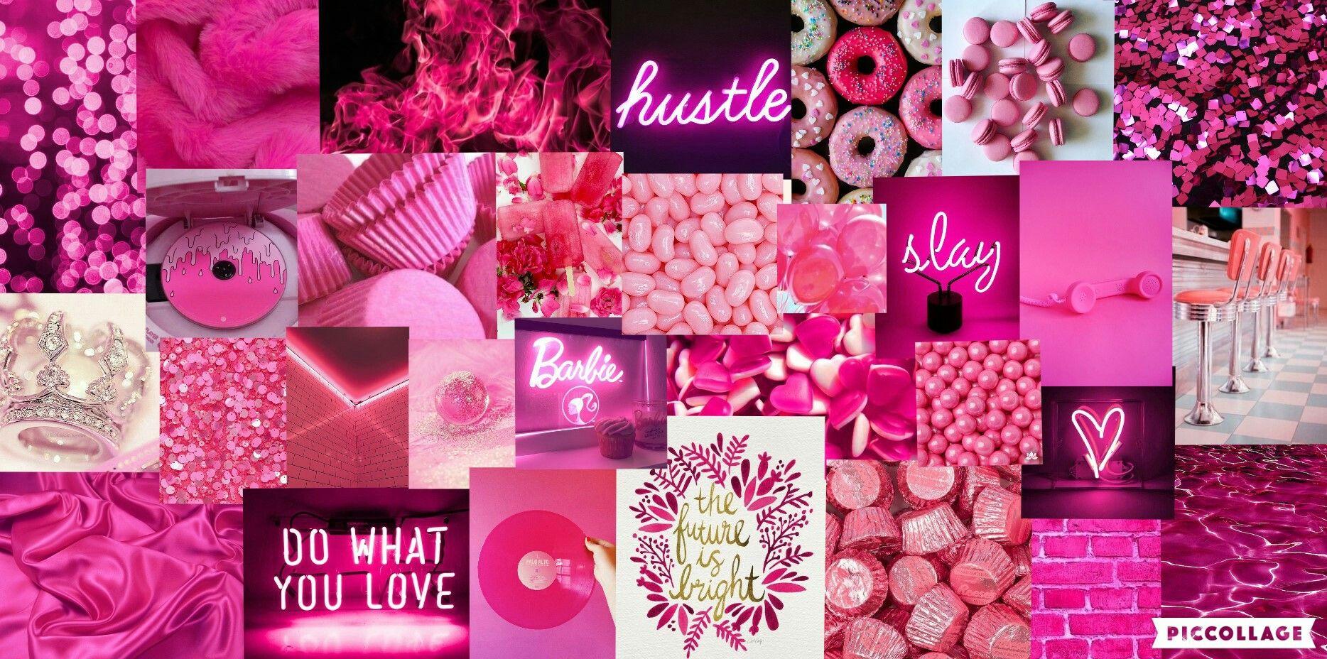 Hot Pink Mood Board Wallpaper Aesthetic Pink Wallpaper Laptop Pink Wallpaper Mac Hot Pink Wallpaper