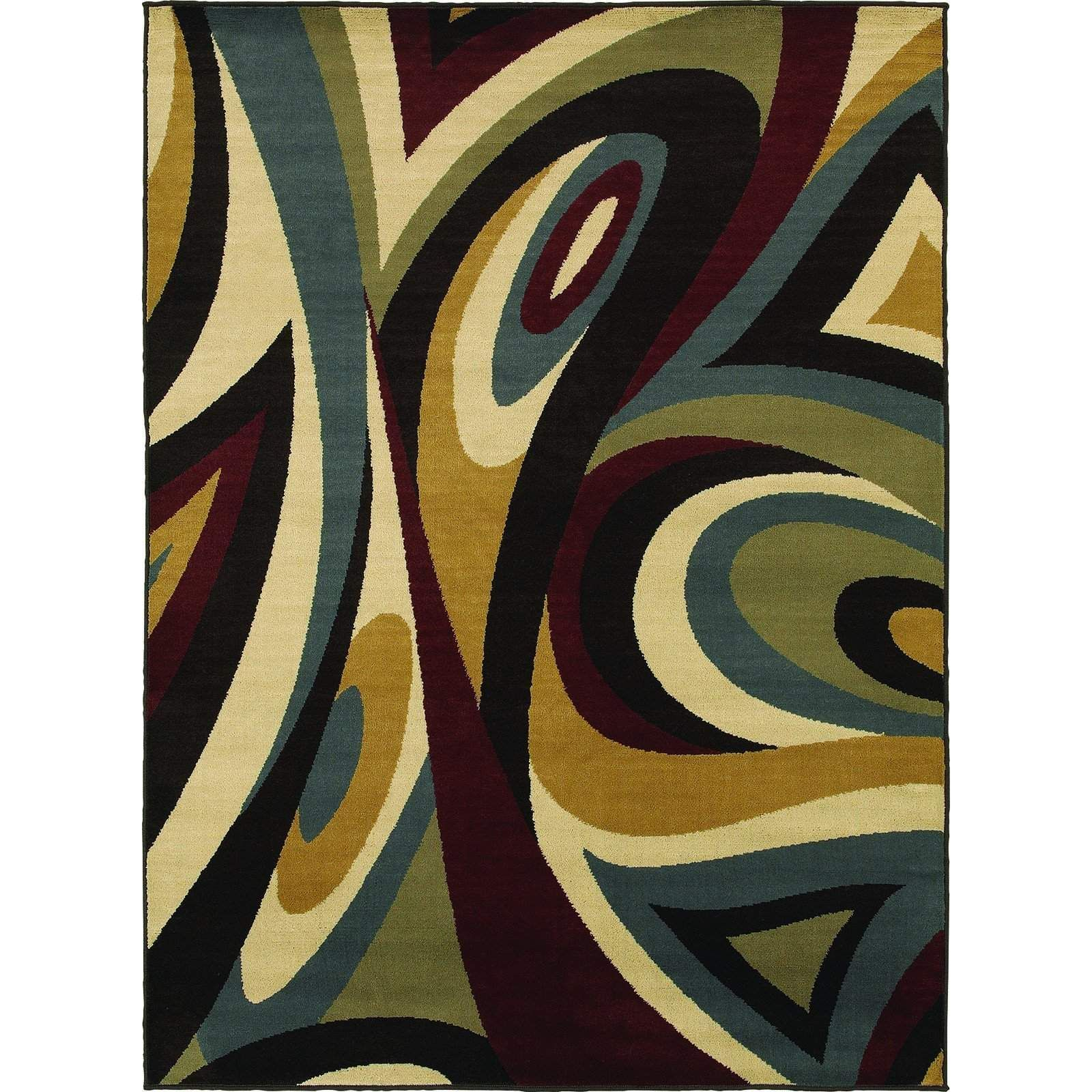 Oriental Weavers Transitional Brown Colorful Polypropylene Abstract Machine-Woven Area Rug