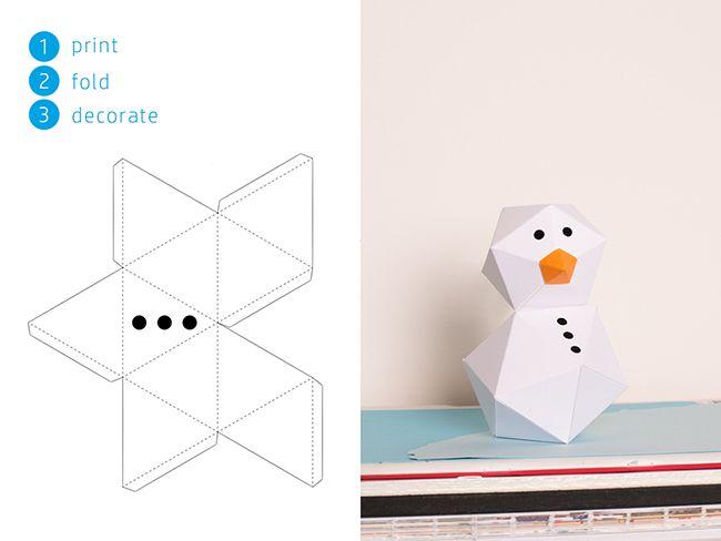 DIY Free Printable Paper Snowman Template on MyPrintly - snowman template