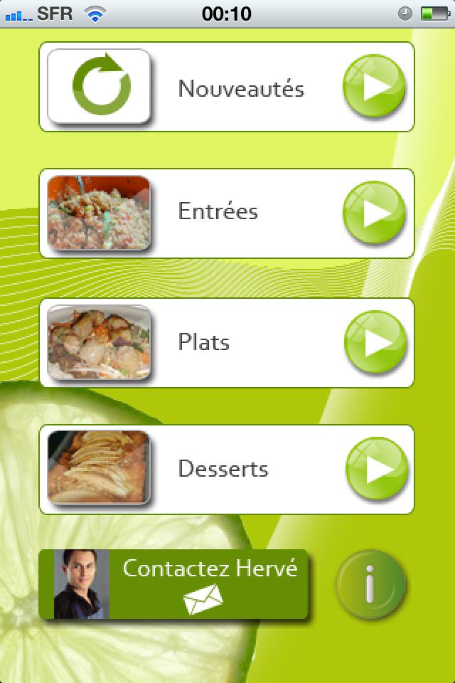 Home Screen Application Herve Cuisine Avec Images Recette De