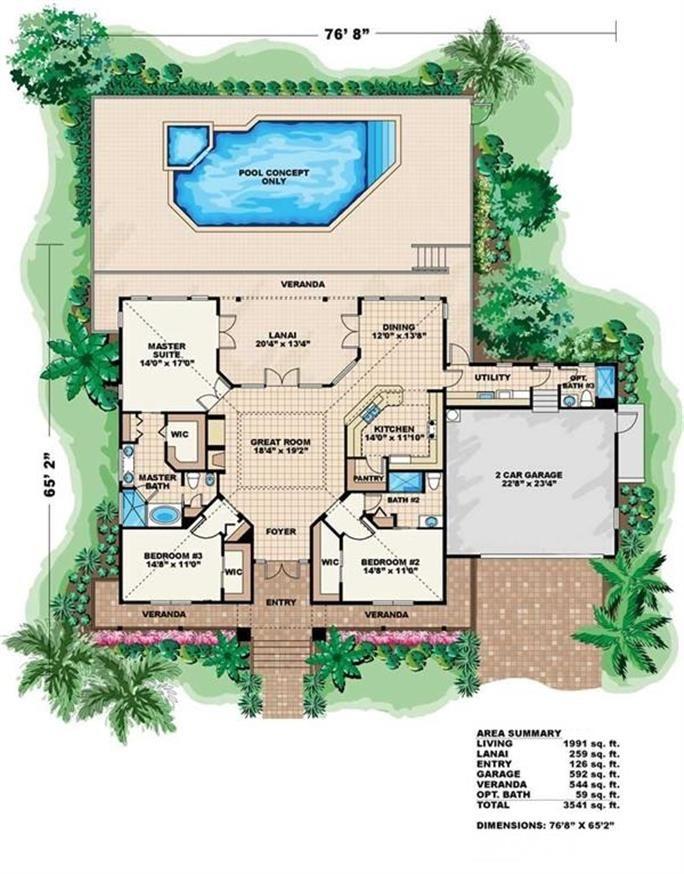 Florida Coastal House Plan With Cupola 3 Bed 1991 Sq Ft Florida House Plans Coastal House Plans House Plans