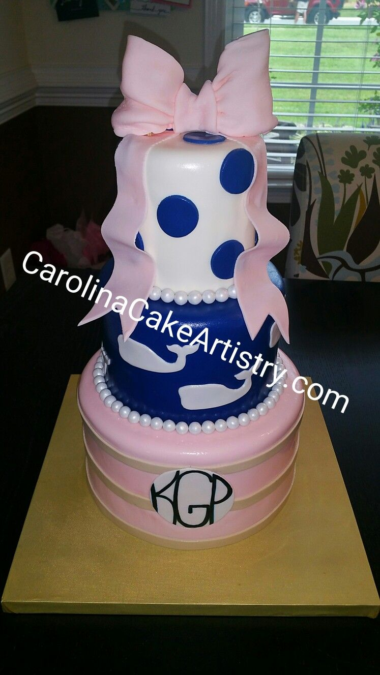 Love This Vineyard Vines Birthday Cake With Edible Bow