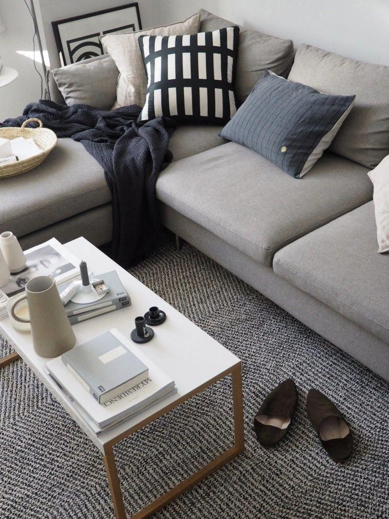 A Light Scandi Style Living Room With Painted White Floorboards And A Grey Corner Sofa Scandiliv Living Room Decor Apartment Corner Sofa Minimal Coffee Table