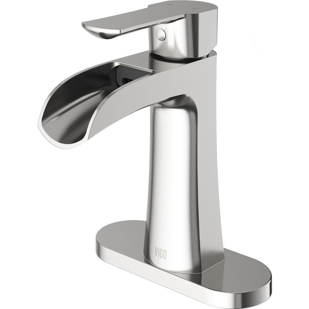 Vigo Paloma Single Hole Single Handle Bathroom Faucet With Deck Plate In Brushed Nic Single Hole Bathroom Faucet Bathroom Faucets Single Handle Bathroom Faucet [ 1000 x 1000 Pixel ]