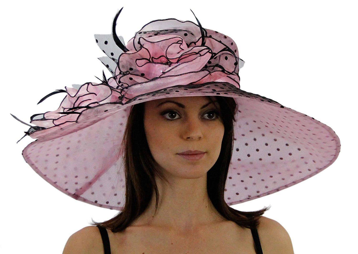 1e448bfaf2c18 Polka Dot Wide Brim Organza Derby Hat with Jewel Accents