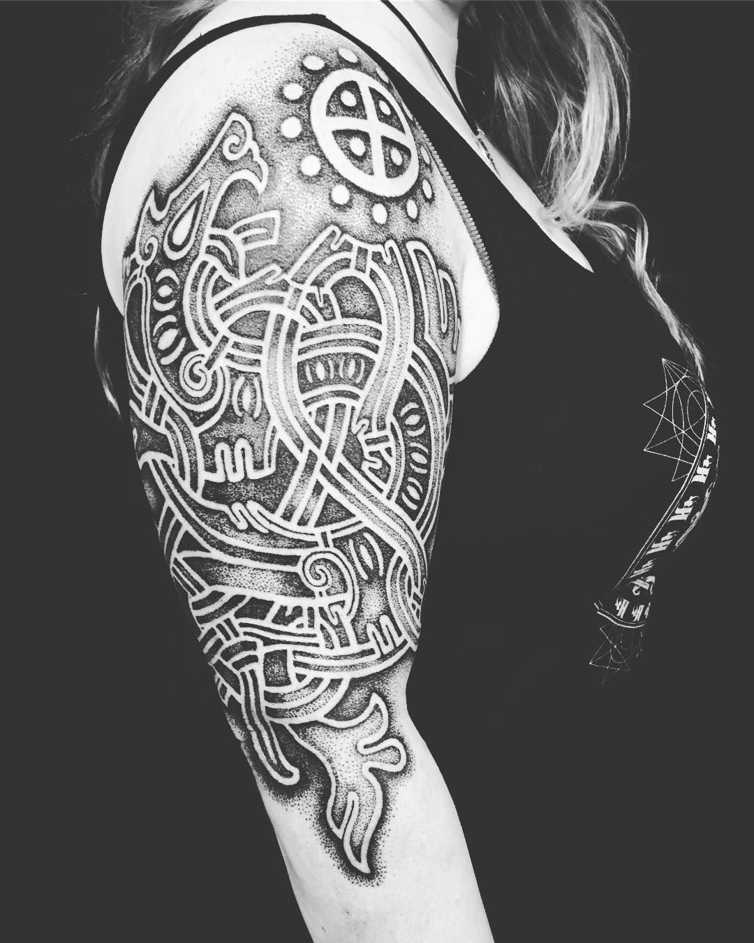 ca28c5a5490a Viking / Norse knotwork with sun cross tattoo by sacred_knot_tattoo ...