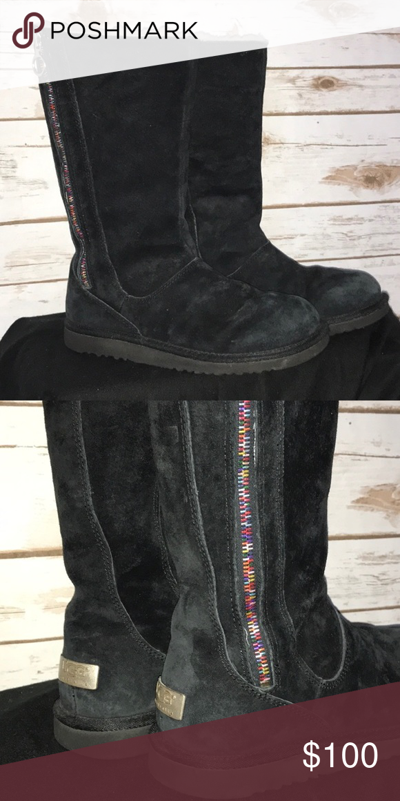 Ugg Boots Tall Black Uggs with Rainbow