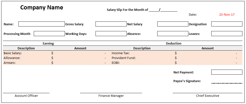 Employee Salary Slip Format Is A Record That An Organization Has