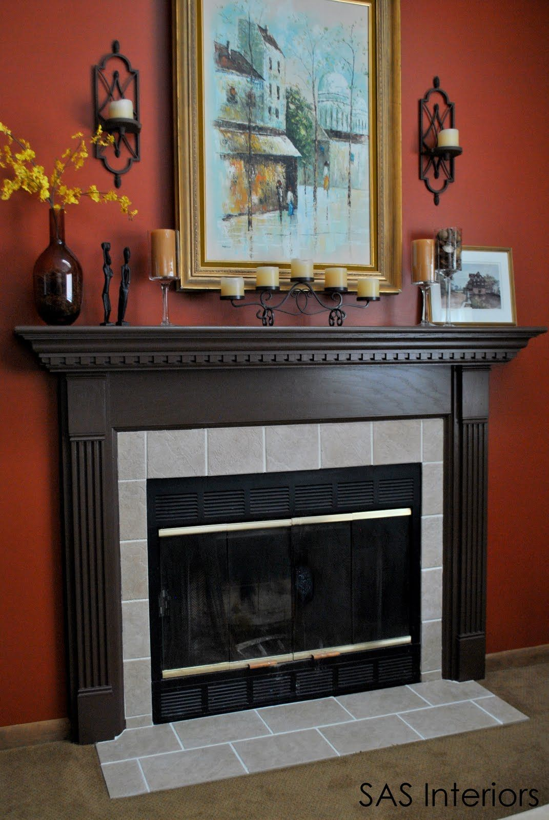 Diy fireplace surround transformation replacing out of for Dark fireplace mantel