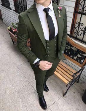 Terziademaltun Italyan Stil Ceket Yelek Pantolon Yesil Erkek Takim Elbise T2150 1 Takim Elbise Stil Siyah Takim Elbise