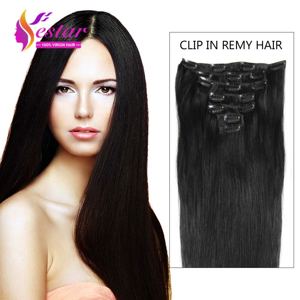 Aliexpress Buy Indian Clip In Human Hair Extensions Natural