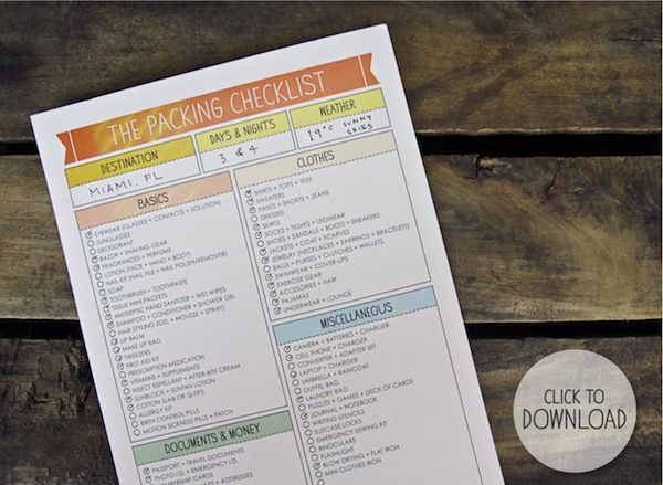 Free printable packing checklist For Holidays  Vacations