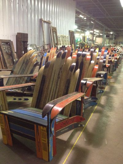 Paul S Ski Adirondack Chairs Made From Antique Skis Repurposed Upcycling