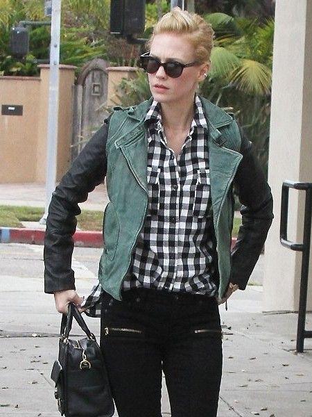 Black leather sleeve green jacket