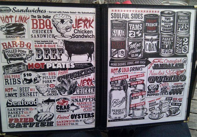 Art Of The Menu Papa S Soul Food Kitchen Soul Food Kitchen Menu Design Menu Design Inspiration