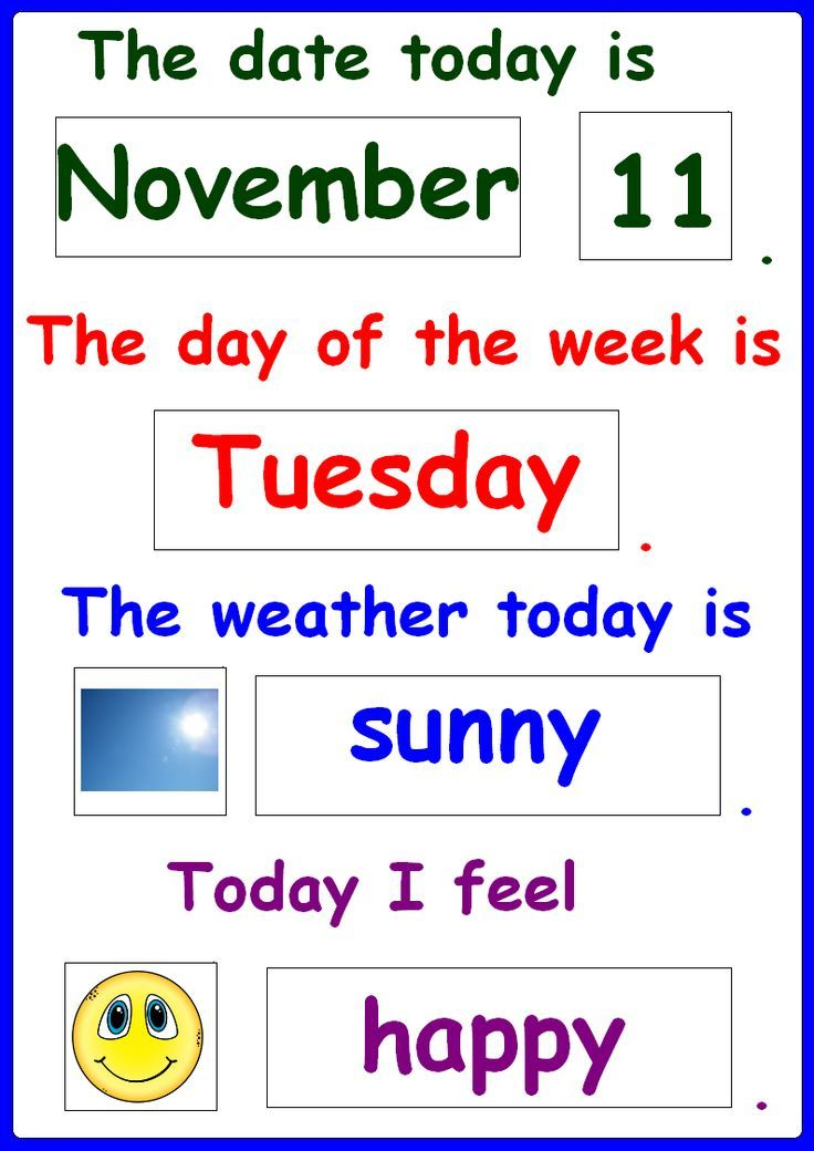 Yr Weather: Daily Chart, Visual Calendar For Students With Autism