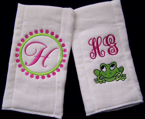 Two Personalized Monogrammed Burp Cloths Monogramed Baby Toddler