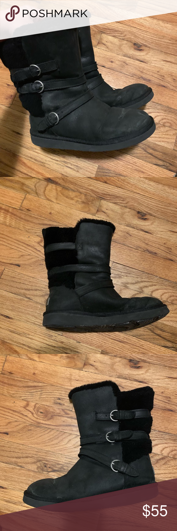 Black Ugg boots with fur trim and