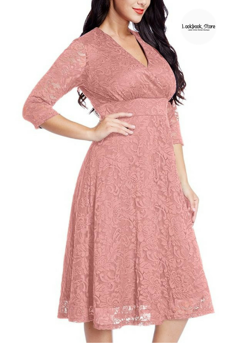 2eaed6d1091 Most Wanted    Let your inner beauty shine in this plus size old rose lace  surplice midi dress.