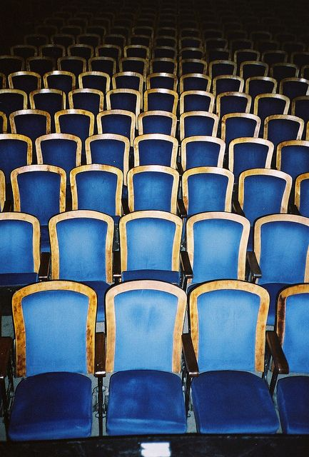 Brilliant blue and gold theater seats