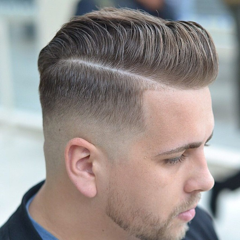 Long Textured Pompadour Skin Fade