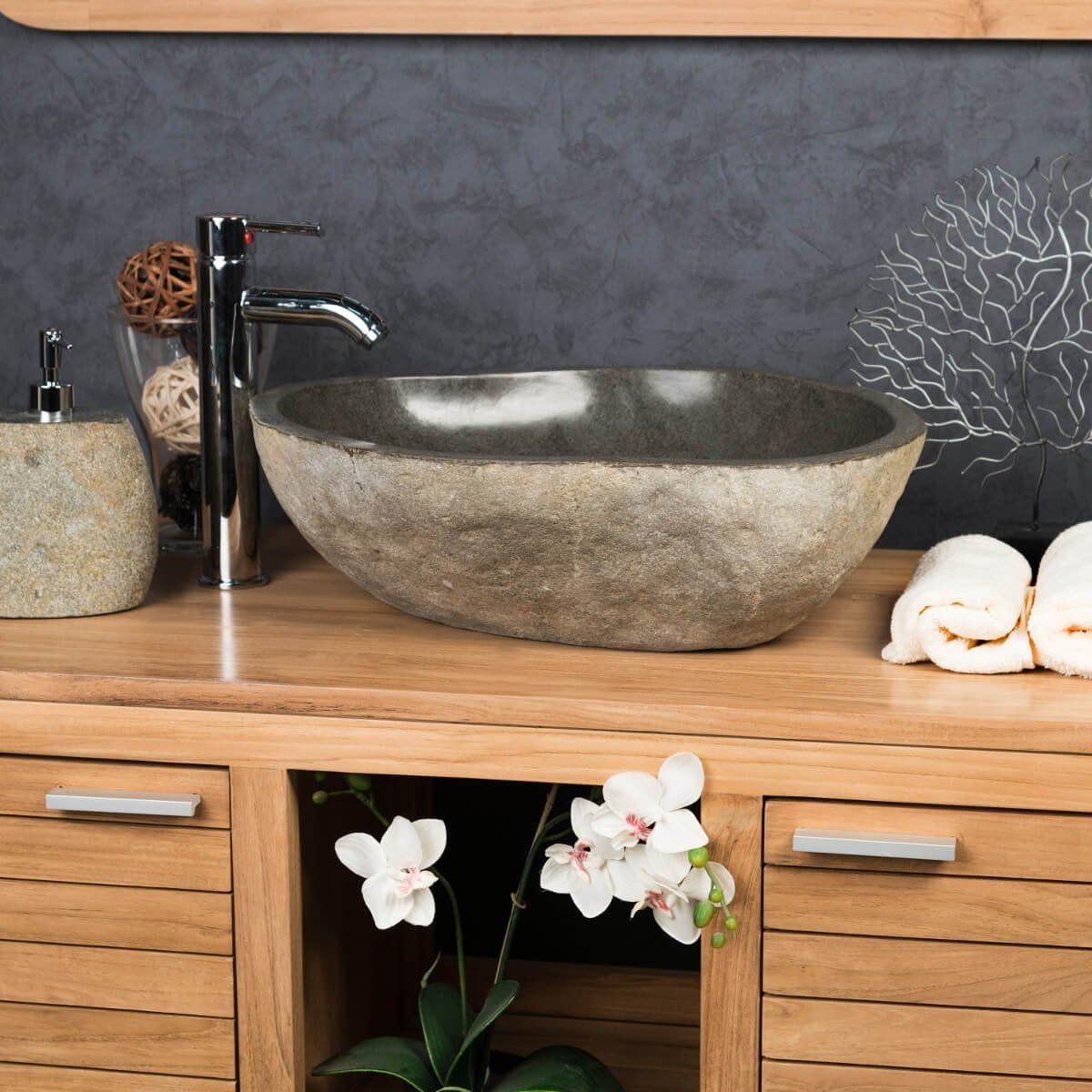 Grande Vasque en pierre naturelle GALET DE RIVIERE 20 - Vasque