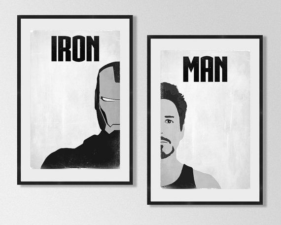 IRON MAN Poster Set, Avengers Minimalist Posters, Black and White ...